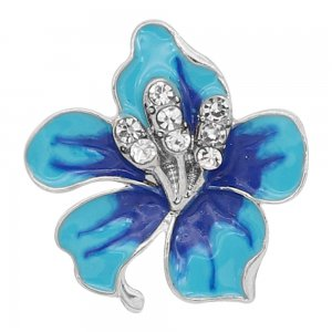 20MM snap Silver Plated  Flowers with  Blue enamel KC9345 snaps jewerly