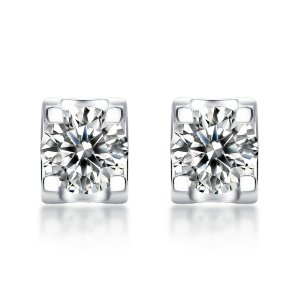 0.5CT D 5mm Moissanite Diamond Sterling Silver Classic Stud Earring Platinum plating 2pcs/pair