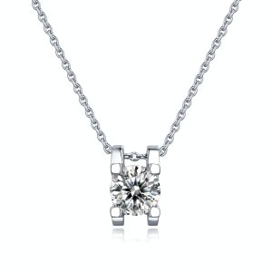 1 CT D 6.5mm Moissanite Sterling Silver Pendant Necklace Platinum plating 45CM chain