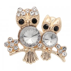 20MM Snap Owl plaqué or avec strass blanc charmes KC9338 s'enclenche joaillier