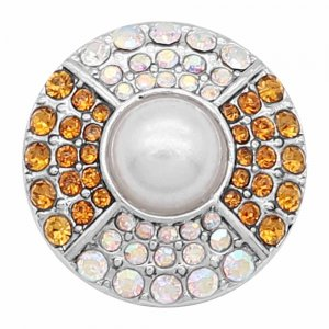 20MM  design snap Silver Plated With Yellow and white rhinestones And pearl KC8187 snaps jewerly