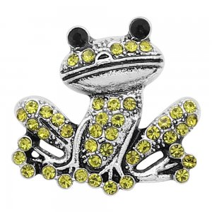 20MM Frog snap silver Plated With green rhinestones charms KC9342 snaps jewerly