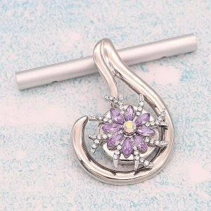 20MM design  snap Silver Plated With purple rhinestones charms KC9348 snaps jewerly