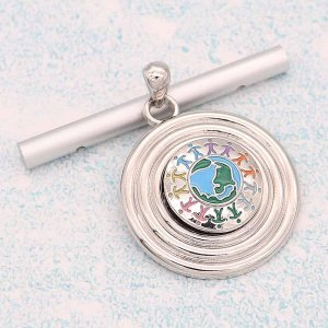 20MM Global village snap Silver Plated With  Enamel  KC8178 multicolor