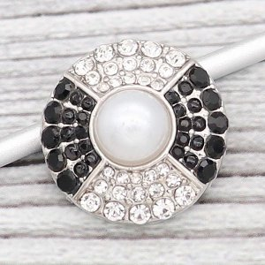 20MM design snap Silver Plated With black rhinestones And  pearl KC8188 snaps jewerly