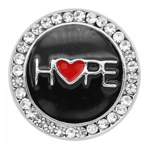 20MM Hope snap Silver Plated With white rhinestones and black enamel KC8199 snaps jewerly
