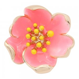 20MM snap gold Plated  Flowers with Pink enamel KC8204 snaps jewerly