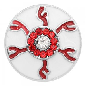 20MM Devil's eye snap Silver Plated With Red rhinestones and white enamel KC8195 snaps jewerly