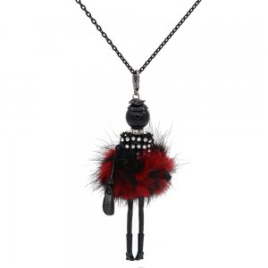 Fashion Villus doll alloy necklace 70cm with rhinestones