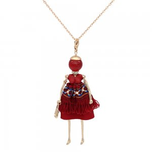 Fashion doll alloy necklace 70cm with rhinestones