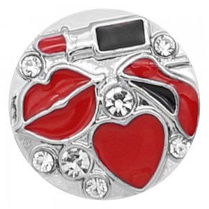 20MM Lipstick snap Silver Plated With Red enamel KC8209 snaps jewerly