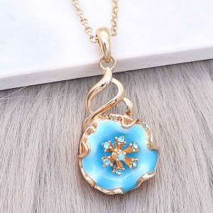 20MM snap gold Plated  Flowers with blue enamel and blue rhinestone KC8212 snaps jewerly