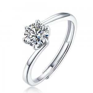 0.5 CT D 5mm Moissanite Diamond Sterling Silver Flying Star Ring Platinum plating adjustable size