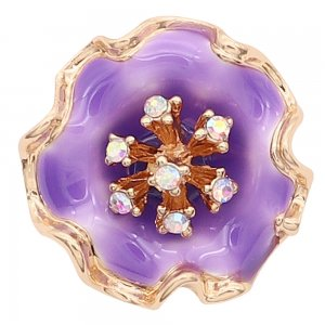 20MM snap gold Plated  Flowers with purple enamel and colorful rhinestone KC8210 snaps jewerly
