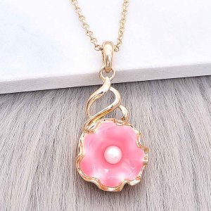 20MM snap gold Plated  Flowers with Rose red enamel and white Pearl KC8207 snaps jewerly
