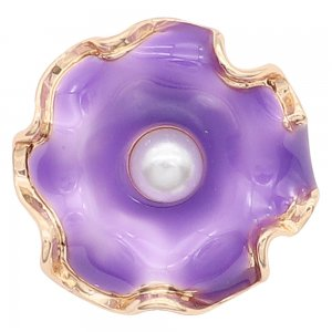 20MM snap gold Plated  Flowers with purple enamel and white Pearl KC8206 snaps jewerly