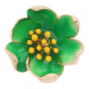 20MM snap gold Plated  Flowers with green enamel KC8205 snaps jewerly