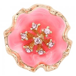 20MM snap gold Plated  Flowers with Rose red enamel and pink rhinestone KC8211 snaps jewerly