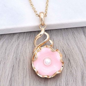 20MM snap gold Plated  Flowers with Pink enamel and white Pearl KC8208 snaps jewerly