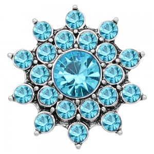 20MM snap Silver Plated With Blue rhinestones charms KC8183 snaps jewerly