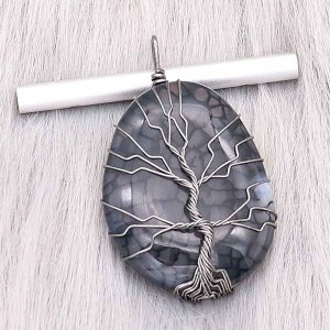 Natural stone-agate Tree of life copper Pendant of necklace night Dark Forest