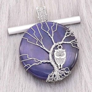 Natural stone-agate Tree of life copper Pendant of necklace Owls in the dark blue night
