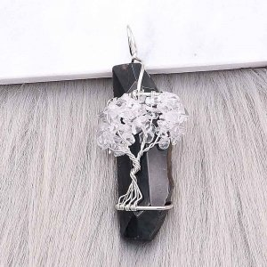Natural stone-agate Tree of life  Pendant of necklace Black and White