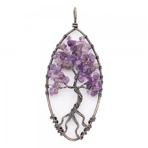 Natural stone-agate Tree of life copper Pendant of necklace(without chain) fashion style jewelry