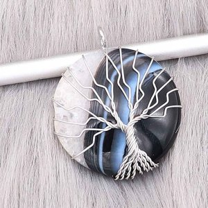 Natural stone-agate Tree of life copper Pendant of necklace Owls in the moon night