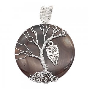 Natural stone-agate Tree of life copper Pendant of necklace Owls in the dark night