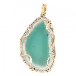 Natural stone-agate  copper Pendant of necklace Green Lake
