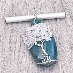 Natural stone-agate (Cut and polish smooth)Tree of life copper Pendant of necklace