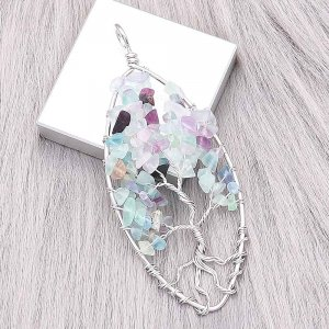 Natural stone-agate Tree of family  Pendant of necklace Light Green