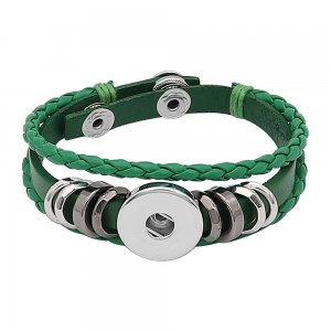 Green leather Snap bracelets fit 1pc 20mm snaps chunks KC0527