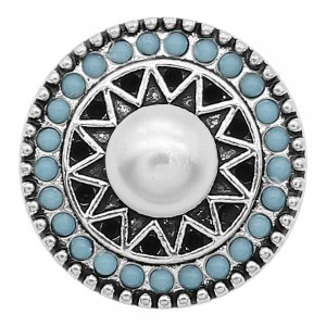 20MM Pearl Snap Versilbert mit Cyan Perlen Charms KC9388 Snaps Jewerly