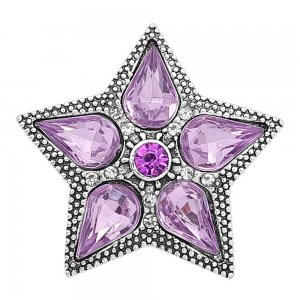 20MM star snap Silver Plated with purple Rhinestone charms KC9395 snaps jewerly