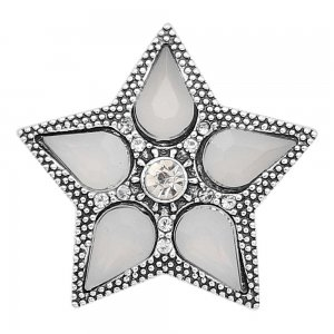 20MM star snap Silver Plated with white Rhinestone charms KC9396 snaps jewerly