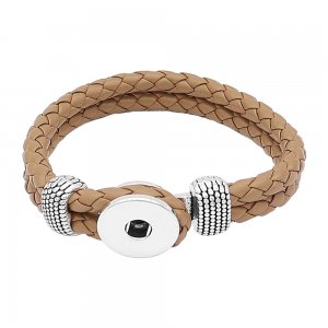 Brown Leather Snap bracelets KC0547  fit 20mm snaps chunks 1 button