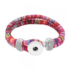 Multicolour cloth Snap bracelets KC0552 fit 20mm snaps chunks 1 button