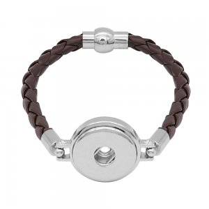 Brown Leather Snap bracelets KC0535  fit 20mm snaps chunks 1 button