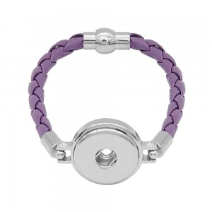 Purple Leather Snap bracelets KC0539  fit 20mm snaps chunks 1 button