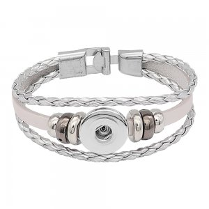 Silver  Leather Snap bracelets KC0531  fit 20mm snaps chunks 1 button