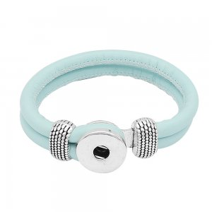 Blue Leather Snap bracelets KC0542 fit 20mm snaps chunks 1 button
