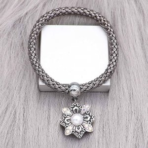 20MM  design snap silver Plated with white rhinestone KC8217 snaps jewerly