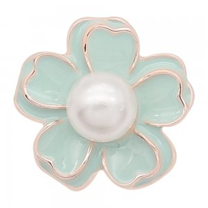 20MM snap gold Plated  Flowers with Pearl and green enamel KC8219 snaps jewerly