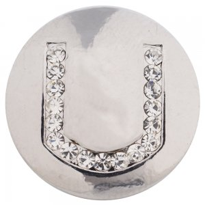 20MM Letter U snap silver plated with Czech diamonds KC5235 snaps jewelry