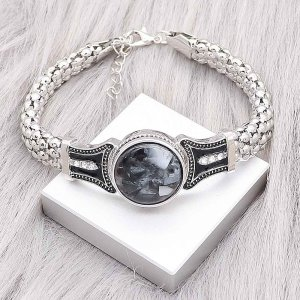 1 buttons snap silvery bracelet with white Rhinestone fit snaps jewelry KC0561