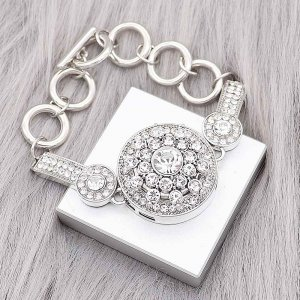 1 buttons snap silvery bracelet with white Rhinestone fit snaps jewelry KC0562