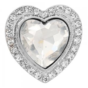 20MM heart-shaped Valentine's Day design snap Silver Plated with white rhinestone KC9413