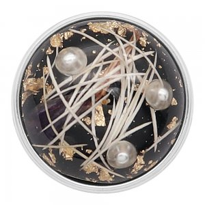20MM black design snap Silver Plated with thread and Pearl KC2217